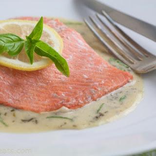 Salmon In Basil Cream Sauce.
