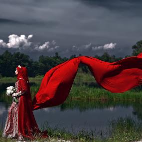 Waiting by Budin DaneCreative - Wedding Bride ( red, dress, wedding, outdoor, brides, malay, malaysia, bride,  )