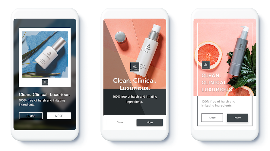 Example responsive display ads from beauty retailer COSMEDIX