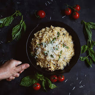 Low-Carb Cauliflower Risotto with Basil and Sun Dried Tomatoes.