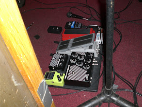 Photo: Michael Landau's pedal board for the Jazz Ministry show. This was taken from my seat with no zoom.