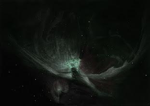 Photo: La nébuleuse d'Orion, M42, au format A3. Plusieurs nuits hivernales 2013 ont été nécessaires pour ce dessin. T406 à 88X, 220X et bino à 175X. Sans filtre.