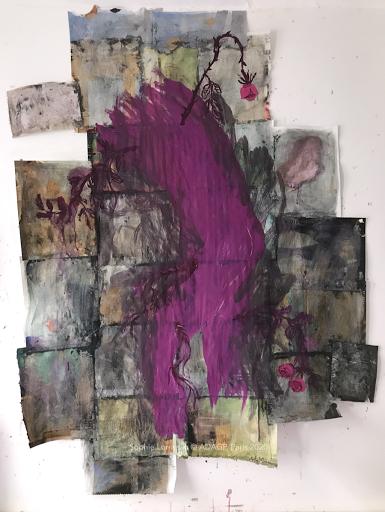 La_passion_peinture_acrylique_papier_magazine_sophie_lormeau_artiste_peintre_art_contemporain_singulier_original_dualite_visible_vs_invisible_emotion_violet_rose_epines_amour_lover_adagp_paris_2020_©