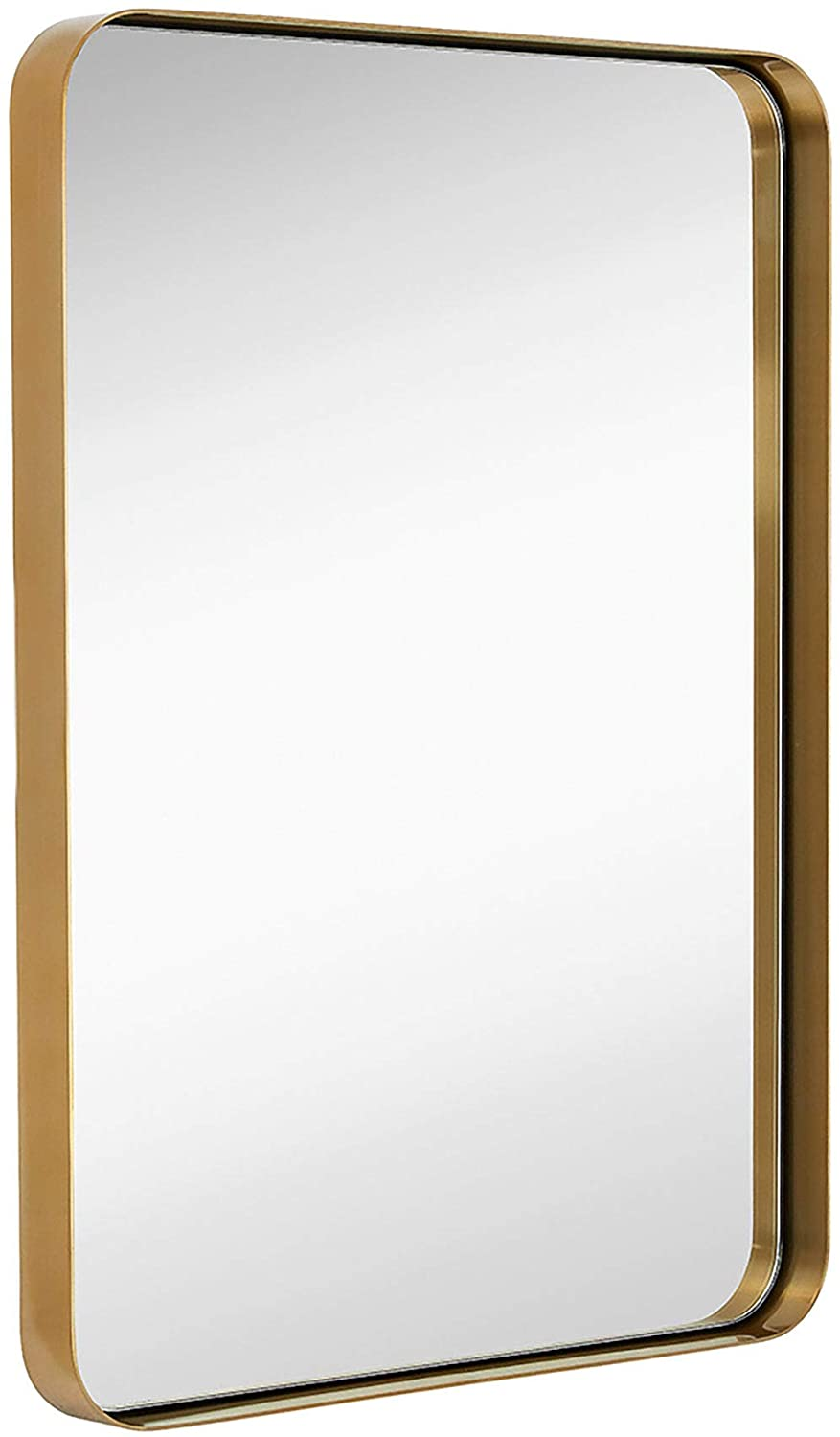 metal plated mirror gold powder room over vanity
