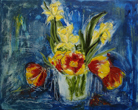 """Photo: Tulips and Daffodils 3, 16"""" x 20"""", oils, acrylic ink on canvas.  When I came home last night and looked at this painting drying on the wall, I thought it 'too dark.' This morning I rubbed out a lot of the colour in the background, added some definition to the daffodils, some white ink lines to the the background energies.  The flowers were a gift last weekend, and I followed a hankering to paint them (by buying stretched canvases and covering my dining room table in plastic sheeting)- this is my third, and likely final, painting of the vase of beauties."""