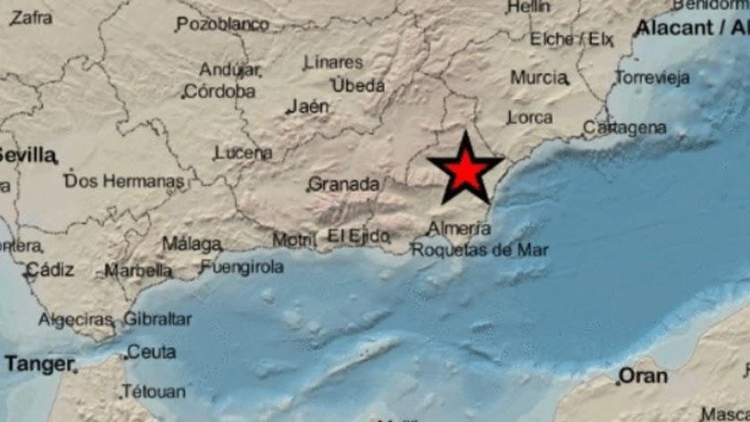 Lugar del epicentro según el IGN, en el municipio de Arboleas.