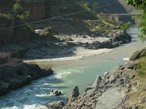 Photo: Alakananda (Green colour water) & Bhagirati (Ash Colour water) sangam then it is called River Ganga.