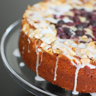 Blueberry Almond Cake with Lemon Cream Cheese Drizzle