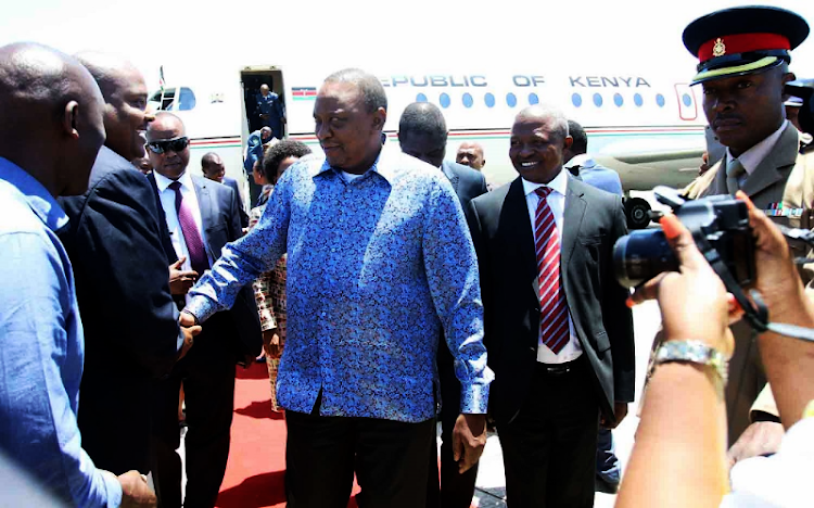 Kenyan President Uhuru Kenyata arrives at the East London Airport on Friday, January 12 2018. He was in the country to attend Cyril Ramaphosa's maiden address as ANC leader on Saturday Picture: MICHAEL PINYANA