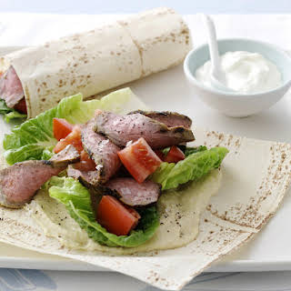 Spiced Beef and Hummus Wraps.