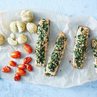 Herb-Crusted Salmon + Roast Potatoes Recipe