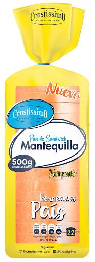 Pan Crustissimo Sandwich Mantequilla 500Gr Pan de mantequilla Crustissimo