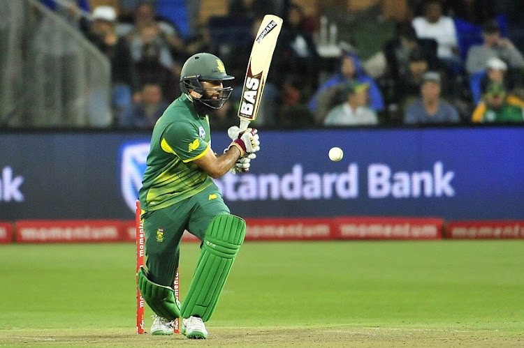 Hashim Amla of the Proteas during the 2018 Momentum One Day International Series game between South Africa and India at St Georges Park, Port Elizabeth on 13 February 2018.