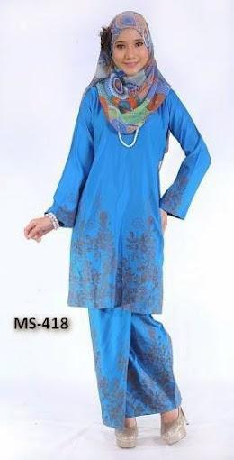 Baju Kurung Pahang Biru Koleksi Baju Raya 2014 Fesyen Terkini