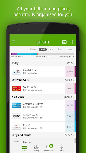 Prism Pay Bills, Track Money, Personal Finance Screenshot