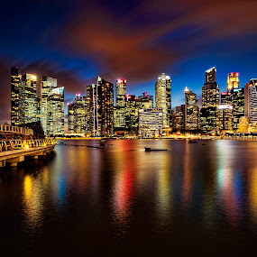 Shenton Blue Hour Skyline by Gordon Koh - City,  Street & Park  Skylines ( shenton way, clouds, skyline, reflection, skyscraper, blue hour, vista, asia, marina bay sands, long exposure, night, cityscape, singapore,  )