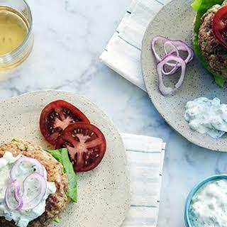 Greek Turkey Burgers with Tzatziki Sauce.