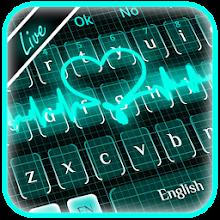 Download Live 3D Neon Blue Love Heart Keyboard Theme APK latest