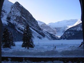 Photo: Fairmont window view of frozen Lake Louise.