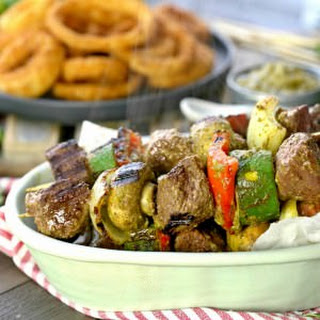 Steak and Vegetable Skewers with Cilantro Pesto.