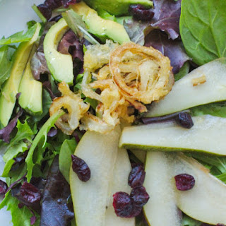 Pear and Avocado Salad with Crispy Onion