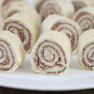 Roast Beef Roll Ups with Herb and Garlic Cream Cheese.
