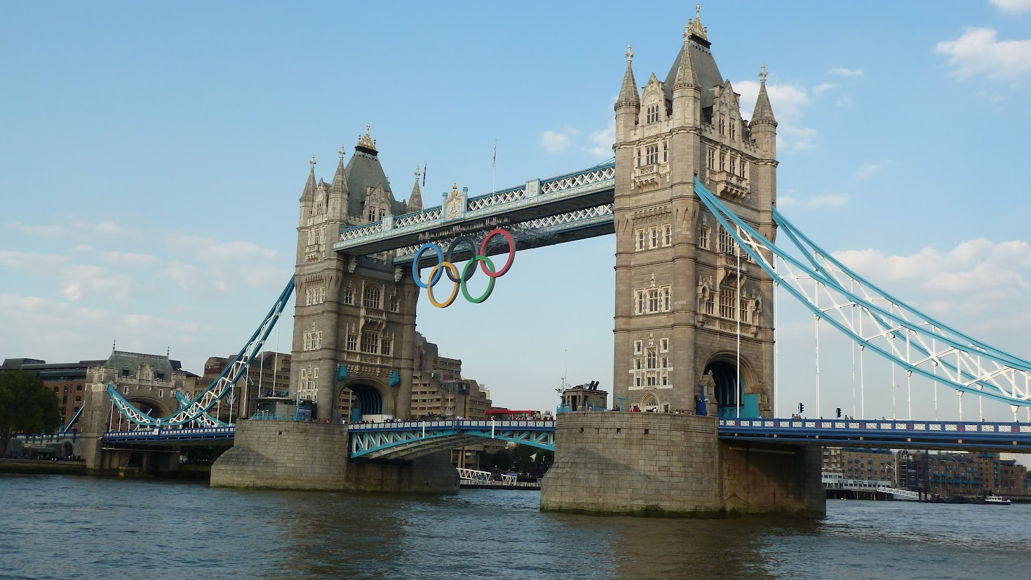 Olympic sign on Tower Bridge, London 2012