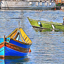 Gone Fishing Maltese Luzzu by James Morris - Digital Art Things ( seascape, maltese. luzzu, malta, gone fishing, boat )