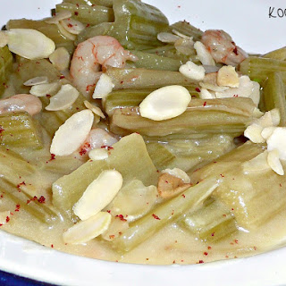 Cardoon with Almond Sauce and Prawns.