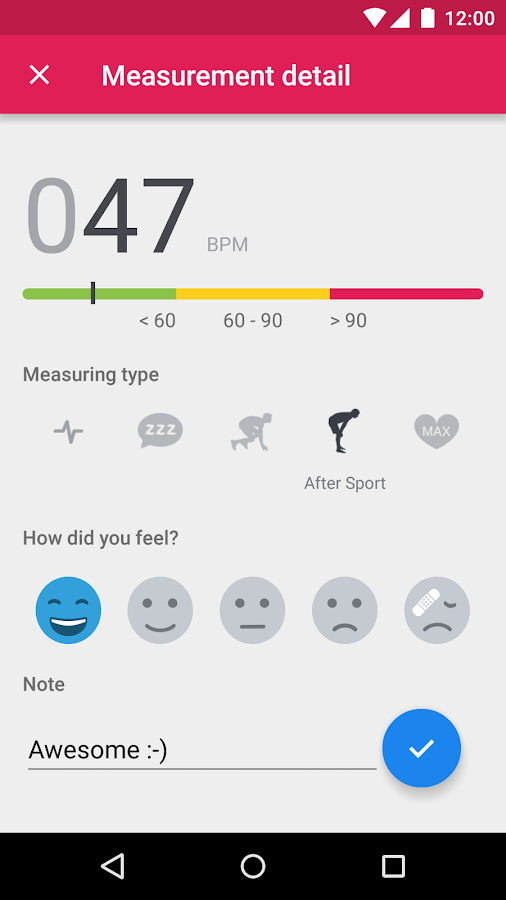 Runtastic Heart Rate Monitor- screenshot