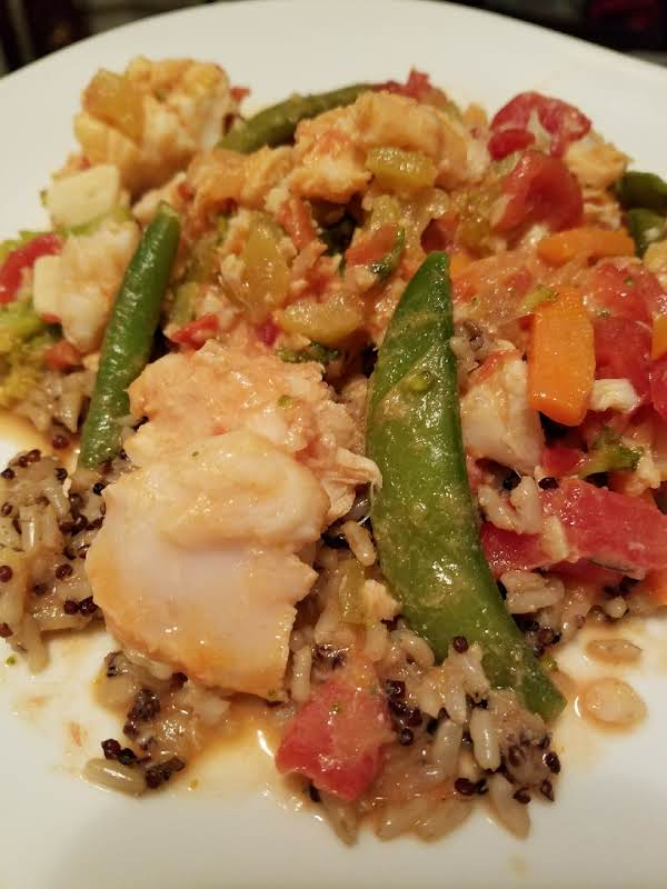 Served Here Over Garlic Brown Rice And Quinoa