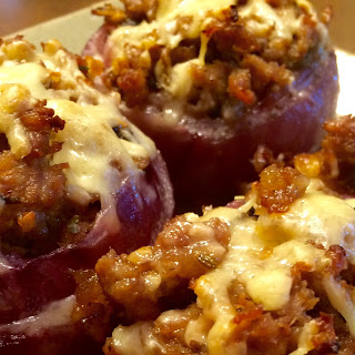 Sausage Stuffed Red Onions
