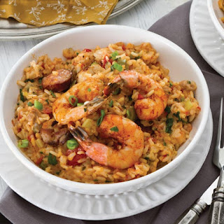 Chicken, Andouille, and Shrimp Jambalaya.