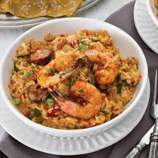 Chicken, Andouille, and Shrimp Jambalaya.