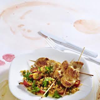 Chicken Skewers with Lentil Salad.