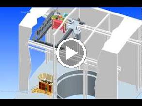 Video: Pont Hong-Kong : Vidéo réalisée avec Pro-Engineer, montrant le fonctionnement d'une nacelle de transport de personnes dans un puits, suspendue à un pont roulant