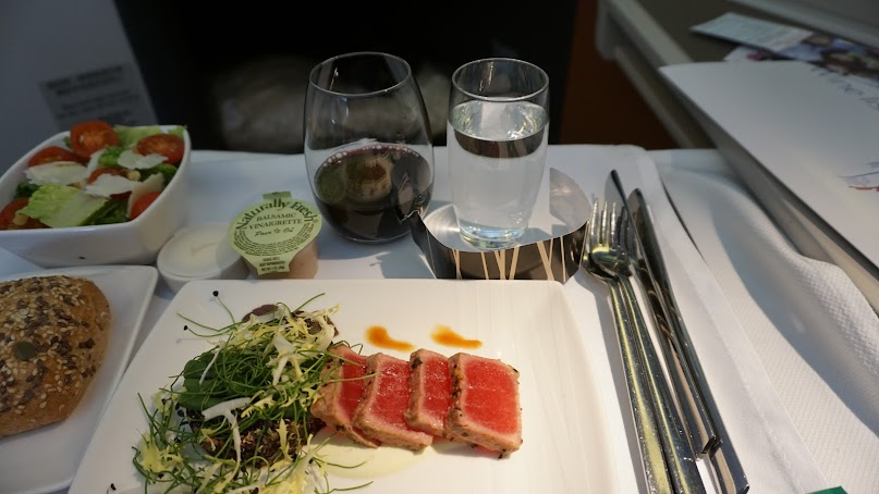Cathay Pacific food, business class