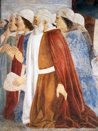 Piero della Francesca, Le Storie della Vera Croce,Esaltazione della croce, (particolare, un gruppo di uomini si inginocchia davanti alla croce in venerazione), Basilica di San Francesco, Arezzo