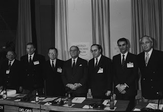 """Photo: DAVOS/SWITZERLAND, JAN 1989 - (fltr) Eishiro Saito, Chairman, Keidanren, Japan; Austrian Federal Chancellor Franz Vranitzky; Jacques Delors, President of the Commission of the European Communities; former French Prime Minister Raymond Barre, session chairman; Belgian Prime Minister Wilfried Martens; Portuguese Prime Minister Anibal Cavaco Silva; and Lord Young of Graffham, United Kingdom Secretary of State for Trade and Industry at the Annual Meeting of the World Economic Forum in Davos in 1989. Copyright <a href=""""http://www.weforum.org"""">World Economic Forum</a> (<a href=""""http://www.weforum.org"""">http://www.weforum.org</a>)"""
