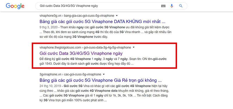 Kết quả tìm kiếm Gói cước một ngày D2 của Vinaphone tại Google.Thegioigoicuoc.com