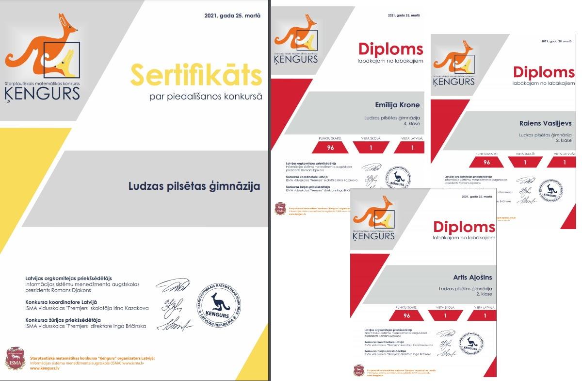 Konkursa Ķengurs sertifikāts un diplomi