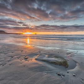 Rapahoe bay 3 by Ian Pinn - Landscapes Beaches ( new, bay, sunset, tide, zealand, beach, coast )