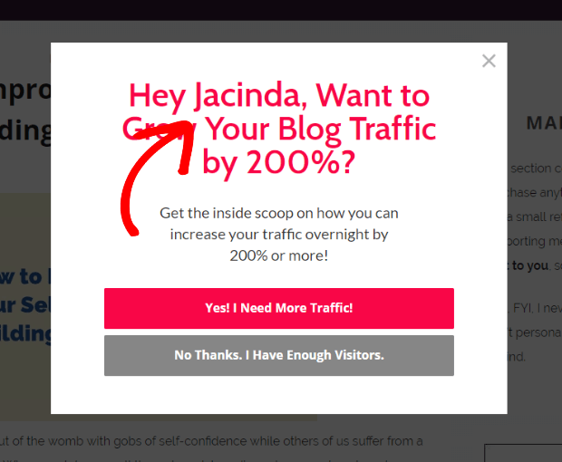 exit popup hacks personalization example