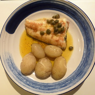 Halibut and Jersey Royals with a Lemon and Caper Sauce