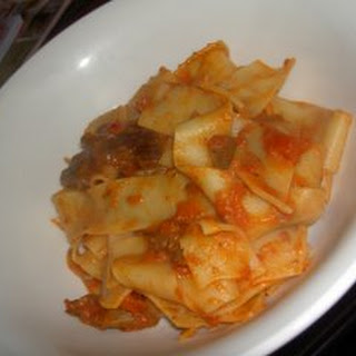 Pappardelle with Dried Porcini and Thyme, Tomato and Mascarpone Sauce