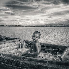 uncertain..... by Ashif Hasan - City,  Street & Park  Neighborhoods ( clouds, bangladesh, sky, boats, children, landscape, river )