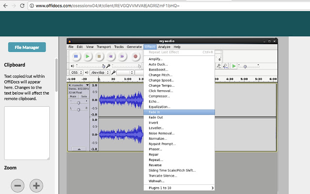 Audio editor online Audacity with Telegram - Chrome Web Store