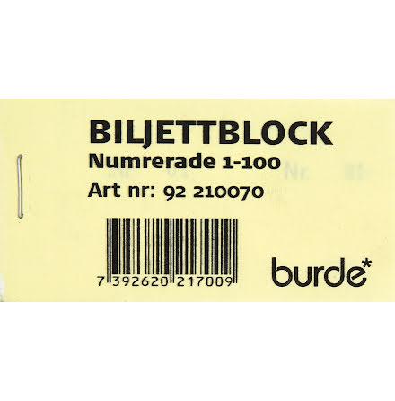 Biljettblock 1-100 gul