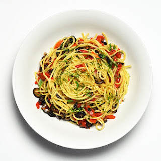 Spaghetti with Olives, Capers and Roasted Red Pepper