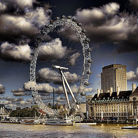 London Eye by Angel Weller - Buildings & Architecture Public & Historical ( water, clouds, famous landmarks, london, thames, eye )